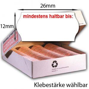 26x12mm Etiketten für Mindesthaltbarkeitsdatum MHD Etiketten 26x12 mit Aufdruck: mindestens haltbar bis: