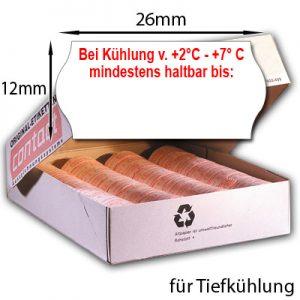 """26x12mm MHD Etiketten mit dem roten Aufdruck """"Bei Kühlung von +2°C +7°C mindestens haltbar bis:"""" TK geeignet"""