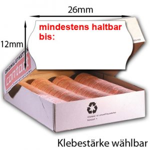 """26x12mm MHD Etiketten 26x12 Etiketten mit dem Aufdruck """"mindestens haltbar bis:"""" für Mindesthaltbarkeitsdatum"""