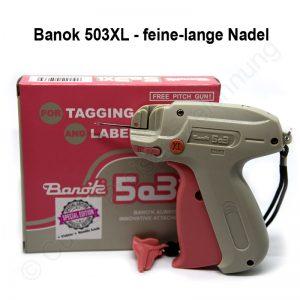 Heftpistole Banok 503XL fein Etikettierpistole, Textilpistole mit feiner langer Nadel