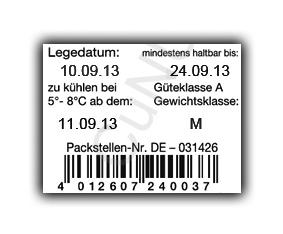 bedrucktes Eier-Karton-Etikett mit EAN-Code, Strichcode