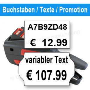 Preisauszeichner mit Buchstaben, variablen Texten, Promotion