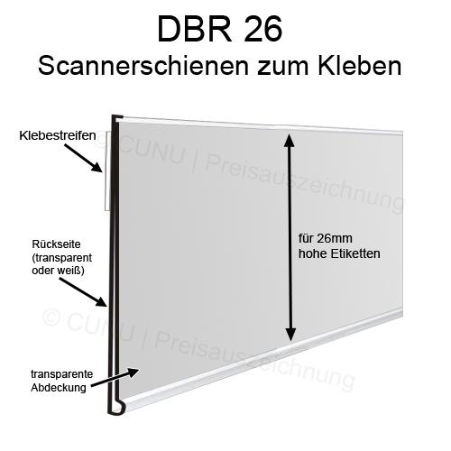 DBR26 Preisleiste zum Ankleben an Regale, Scannerprofile, Scanner Schienen, Preisschienen für 26mm hohe Etiketten