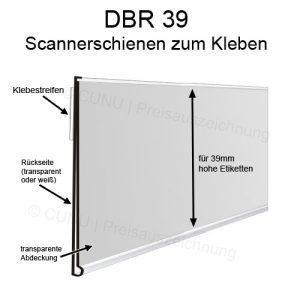DBR39 Scannerschiene zum Ankleben, Regalleiste, Preisleiste für 39mm hohe Etiketten - Scannerprofil -Länge: 100cm