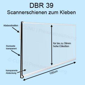 transparente DBR39 Scannerschiene zum Ankleben, Regalleiste, Preisleiste für 39mm hohe Etiketten - Scannerprofil -Länge: 100cm