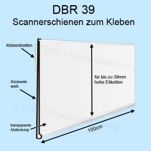 weiße DBR39 Scannerschiene zum Ankleben, Regalleiste, Preisleiste für 39mm hohe Etiketten - Scannerprofil -Länge: 100cm