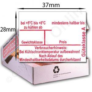 37x28mm Eier Etiketten mit Aufdruck: mindestens haltbar bis, Gewichtsklasse, Güteklasse und Verbraucherhinweis