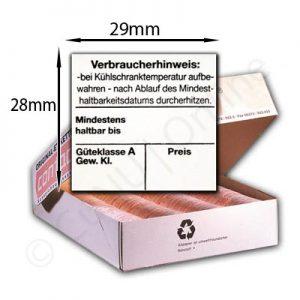 Eieretiketten für Meto-Auszeichner 29x28mm