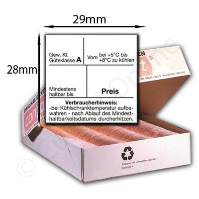 Etiketten für Eier - 29x28mm - Güteklasse Haltbarkeitsdatum Preis und Verbraucherhinweis