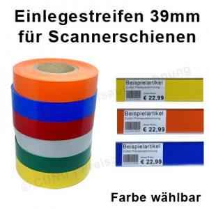39mm hohe Einlegestreifen, Unterleg Folie für Scannerschienen, Scannerprofile und Regalleisten