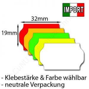 günstige 32x19mm Wellenrand- Etiketten aus EU-Import