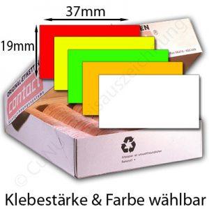 Etiketten 37x19mm Preisetiketten, weiß, rot, orange, gelb, grün