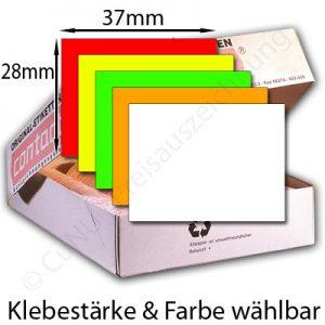 37x28mm große Etiketten für Preisauszeichner, rechteckig, Farbe und Klebestärke wählbar