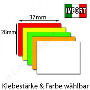 günstige 37x28mm Etiketten, rechteckig, Farbe und Klebestärke wählbar