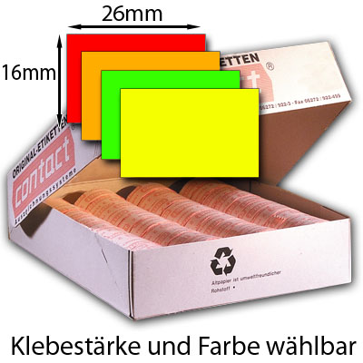 farbige rechteckige Preisetiketten 26x16mm contact
