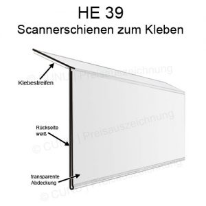 HE39 Scanner Leisten, Scannerschienen zum Kleben, Regalleisten, Scannerprofile für 39mm hohe Etiketten
