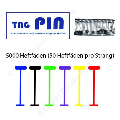 TagPin farbige Heftfäden aus Polypropylen (PP) für Standard und starke Heftpistolen, Farbe und Länge wählbar