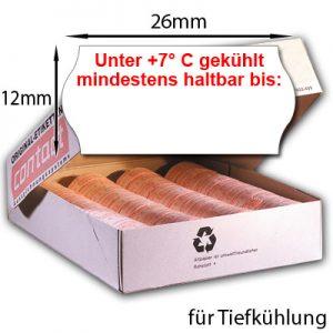 """26x12mm MHD Etiketten mit dem Aufdruck: """"Unter 7° C gekühlt mindestens haltbar bis:"""" 26x12 Tiefkühl Etiketten"""