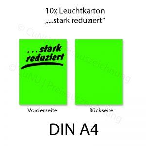 """grünes DIN A4 Plakat mit schwarzem Aufdruck """"...stark reduziert"""""""
