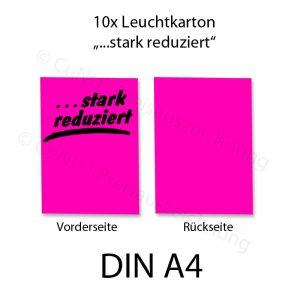 """pinkes DIN A4 Plakat mit schwarzem Aufdruck """"...stark reduziert"""""""