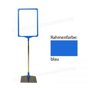blauer, höhenverstellbarer Plakatständer, Plakatrahmen DINA4