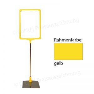 gelber, höhenverstellbarer Plakatständer, Plakatrahmen DINA4