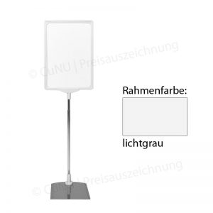 höhenverstellbarer Plakatständer, Plakatrahmen DINA4 lichtgrau