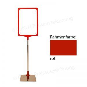 roter, höhenverstellbarer Plakatständer, Plakatrahmen DINA4