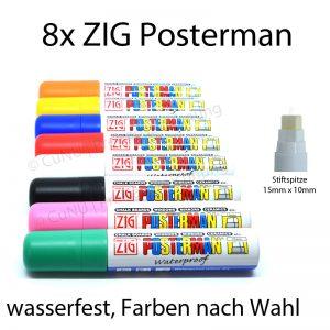 ZIG Posterman Glasschreiber 15mm Postermarker zur Beschriftung von Werbetafeln Schaufenster Plakaten