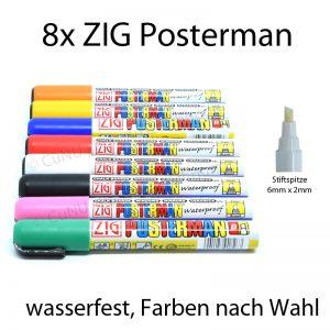 ZIG Posterman Stifte mit 6x2mm Spitze