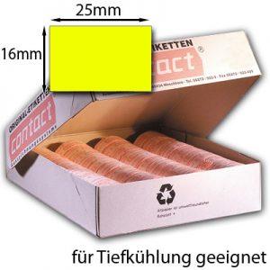 rechteckige Tiefkühletiketten gelb 25x16mm