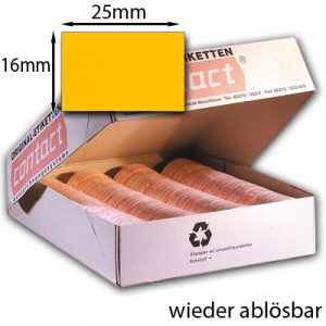 orange Etiketten 25x16mm rechteckig