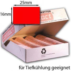 rechteckige rote Tiefkühletiketten 25x16mm