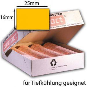 rechteckige Tiefkühletiketten 25x16mm leuchtend orange