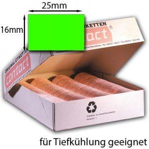 rechteckige Tiefkühletiketten fluor grün 25x16mm