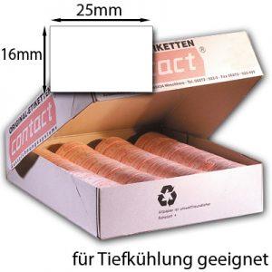 rechteckige weiße Tiefkühletiketten 25x16mm