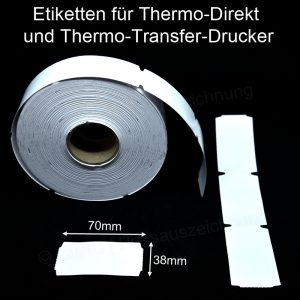 ECO Karton Thermo Etiketten perforiert für Scannerschienen Thermo Direkt und Thermo Transfer
