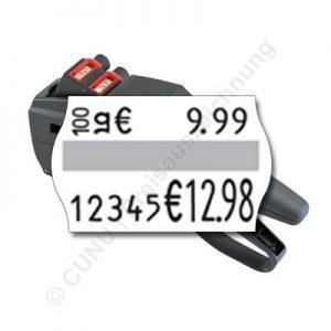 Grundpreis auszeichnen mit dem zweizeiligen Grundpreisauszeichner 26.16 18 GP, für 26x16mm Etiketten