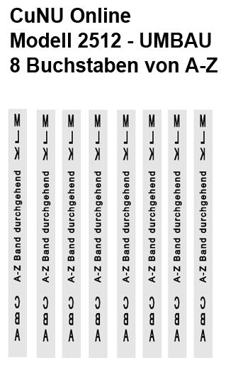 Druckmöglichkeiten des Auszeichner, Preisauszeichner mit Buchstaben CuNU 2512 Alpha