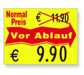 Preisetiketten für reduzierte Waren vor Ablaufdatum