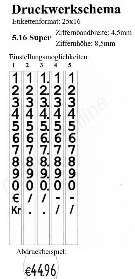 Preisauszeichner mit großen Zeichen, contact 5.16 Super