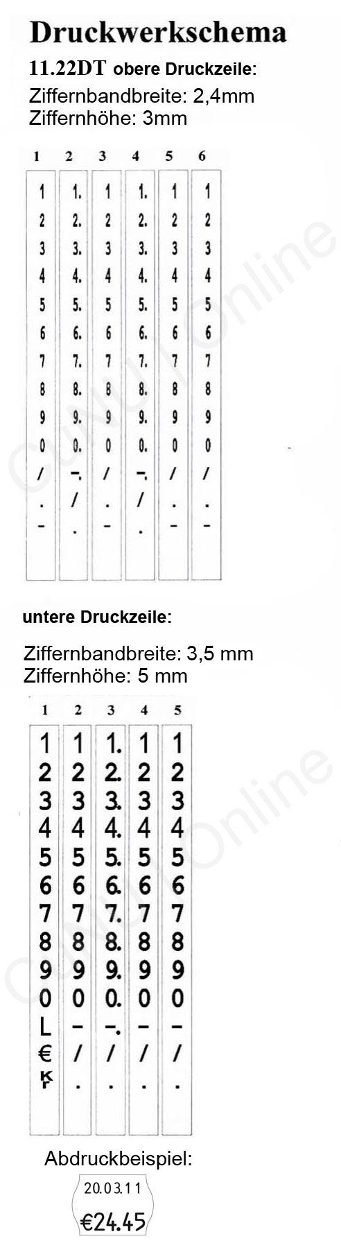 zweizeiliger Preisauszeichner und Datumsauszeichner contact 11.22 DT