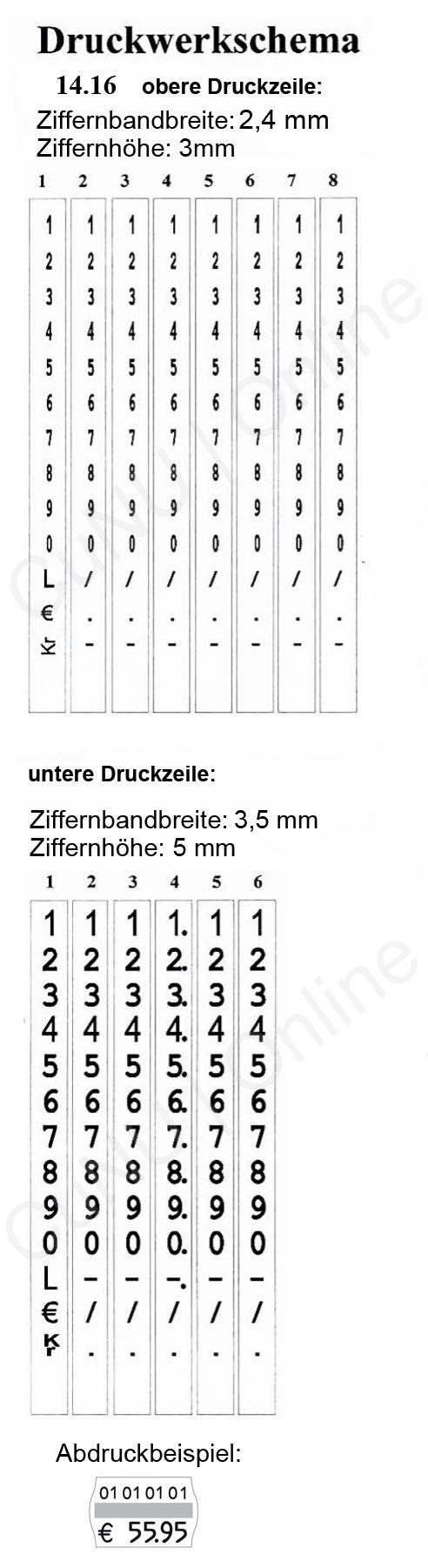 zweizeiliger Auszeichner - Druckwerk contact premium 14.16