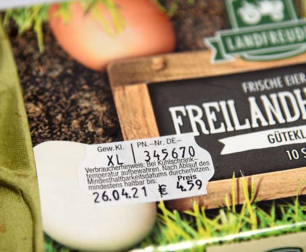 Etikett auf Eierschachtel