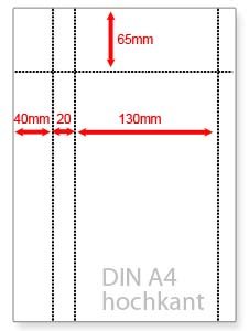 individuell perforiertes Papier DIN A4 Papier perforiert auf Wunschmaß, ab 100 Blatt