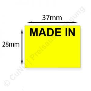 große MADE IN Etiketten für Import, Export, Kennzeichnung durch Länderkürzel, 37x28mm, leuchtgelb, gut klebend