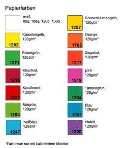verfügbare Papierfarben für perforiertes Papier