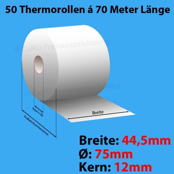 50 Thermorollen, Breite: 44,5mm, Durchmesser: 75mm, Kern: 17mm, Länge: 70m Artikelnummer: 27-447017T
