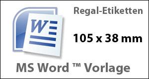 MS Word Vorlage für Regaletiketten 105x38mm