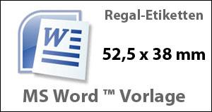 MS Word Vorlage für Regaletiketten 52,5x38mm
